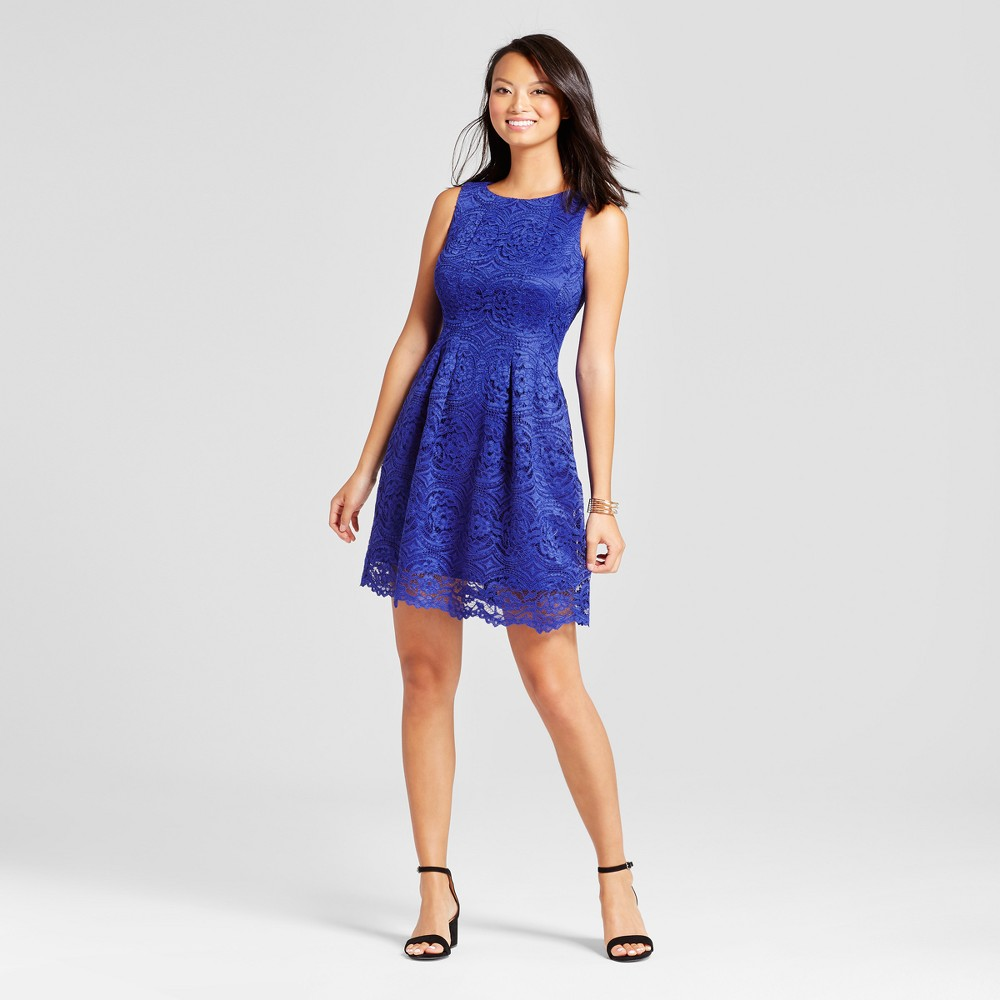 Women's Fit and Flare Lace Tank Dress - Melonie T Cobalt 12, Blue