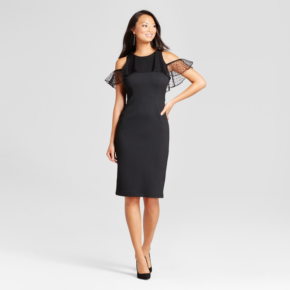 Womens Knit Sheath Dress with Mesh Flutter Sleeve - Melonie T Black 16
