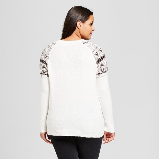 Women's Plus Size Fair Isle Raglan Pullover Sweater - No Comment ...