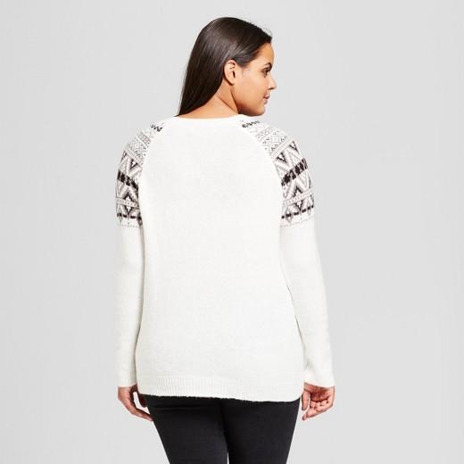 Women's Plus Size Fair Isle Raglan Pullover Sweater - No Comment ...