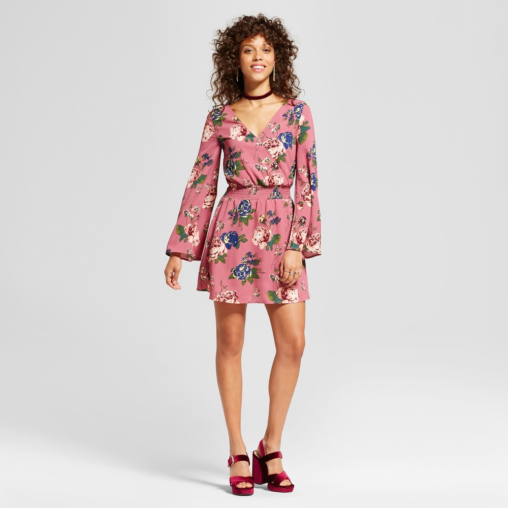 Womens Floral Strappy Bell Sleeve Dress - Love @ First Sight (Juniors) Mauve S, Purple