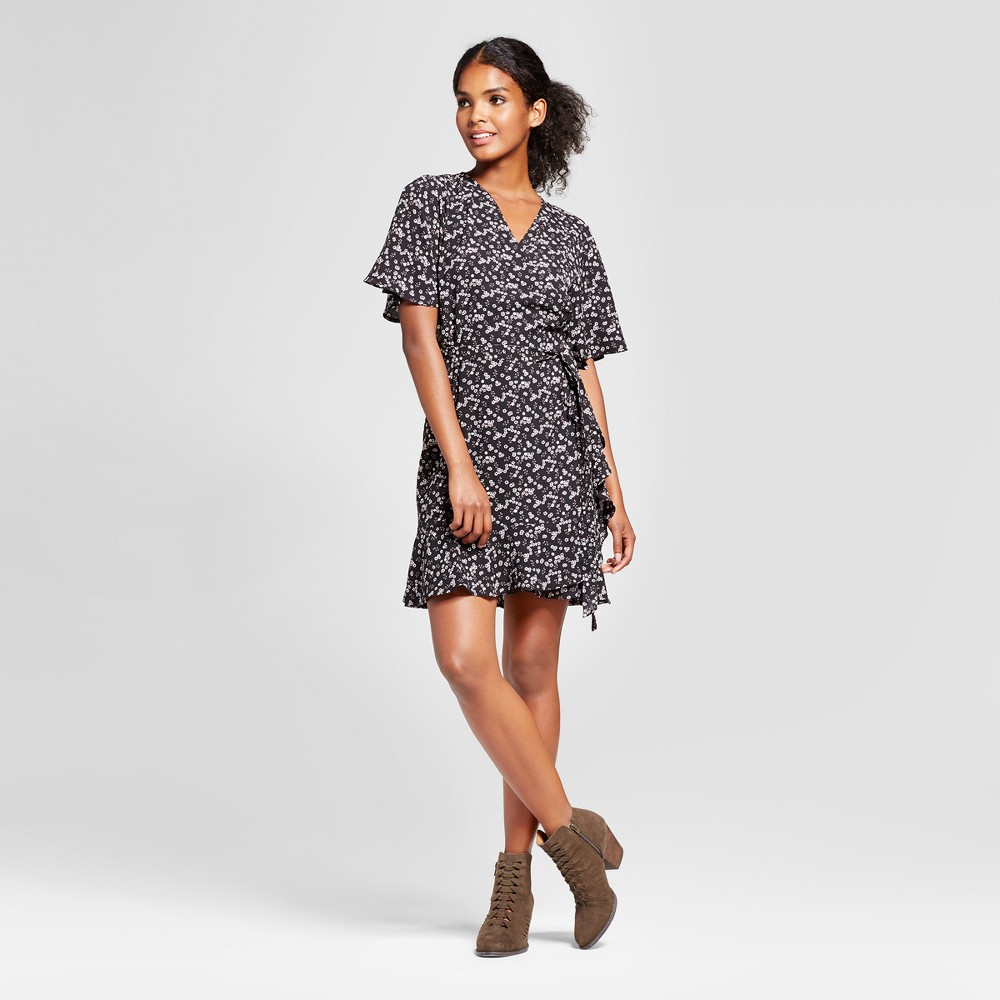 Womens Ruffle Hem Floral Wrap Dress - K by Kersh Black S