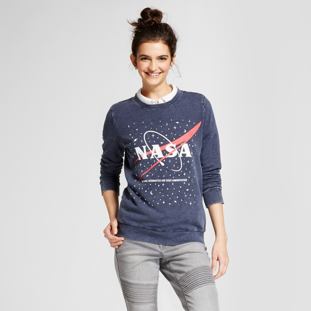 Womens Nasa Graphic Pullover Sweatshirt - Mighty Fine (Juniors) Navy L, Blue