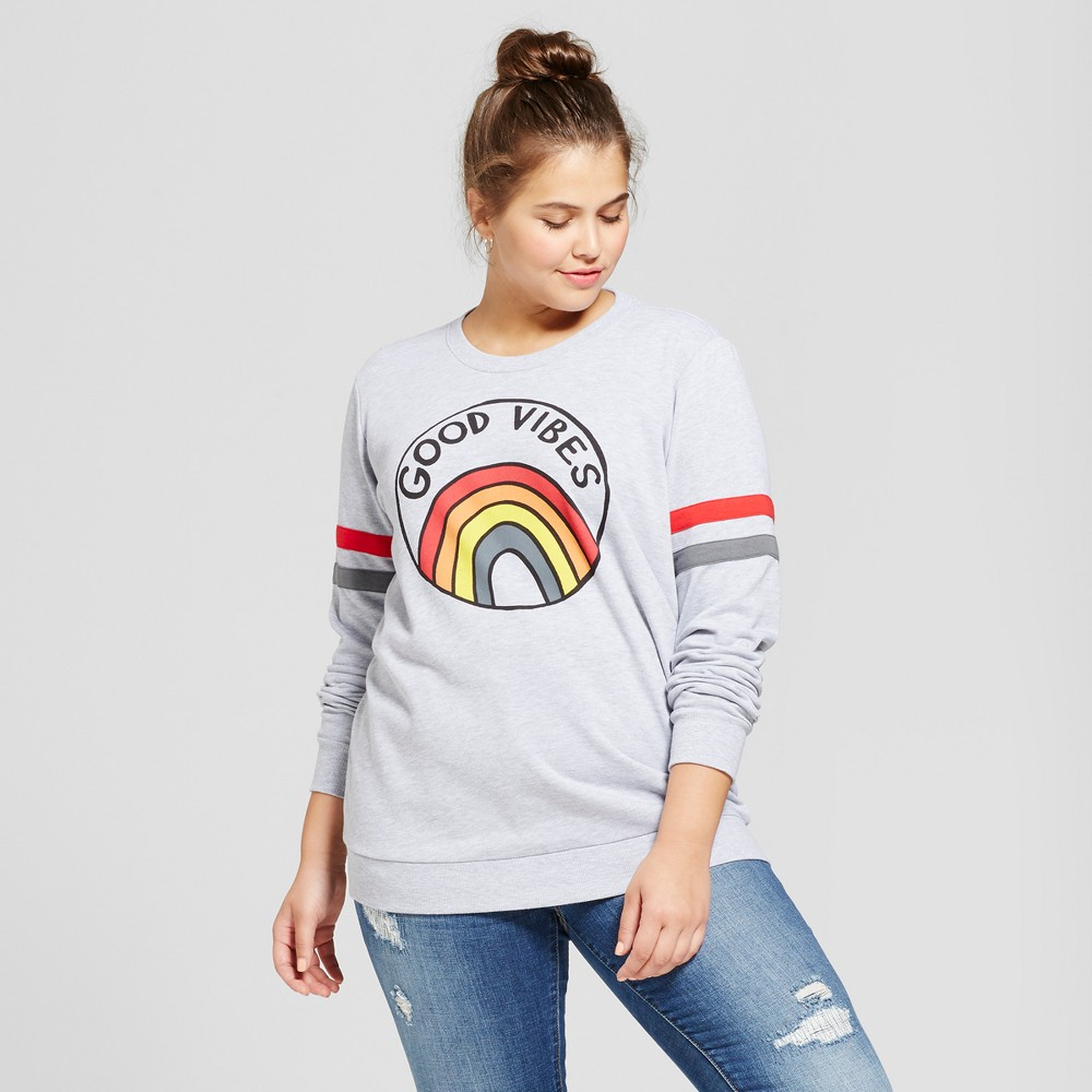 Womens Plus Size Good Vibes Graphic Pullover Sweatshirt - Mighty Fine Gray 3X