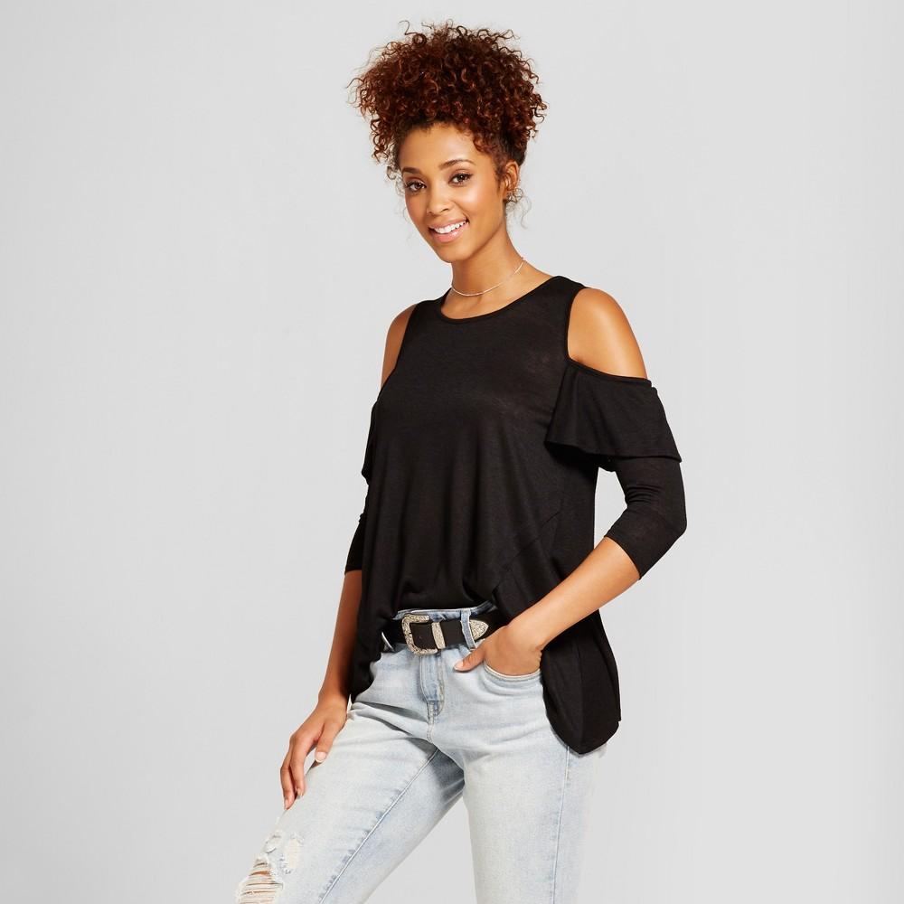 Womens Ruffle Cold Shoulder Top - 3Hearts (Juniors) Black XL