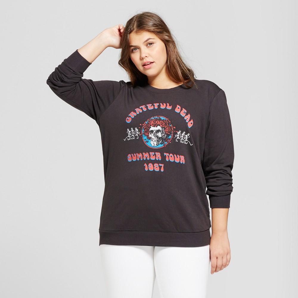 Womens Plus Size Grateful Dead Graphic Pullover Sweatshirt - Black 1X