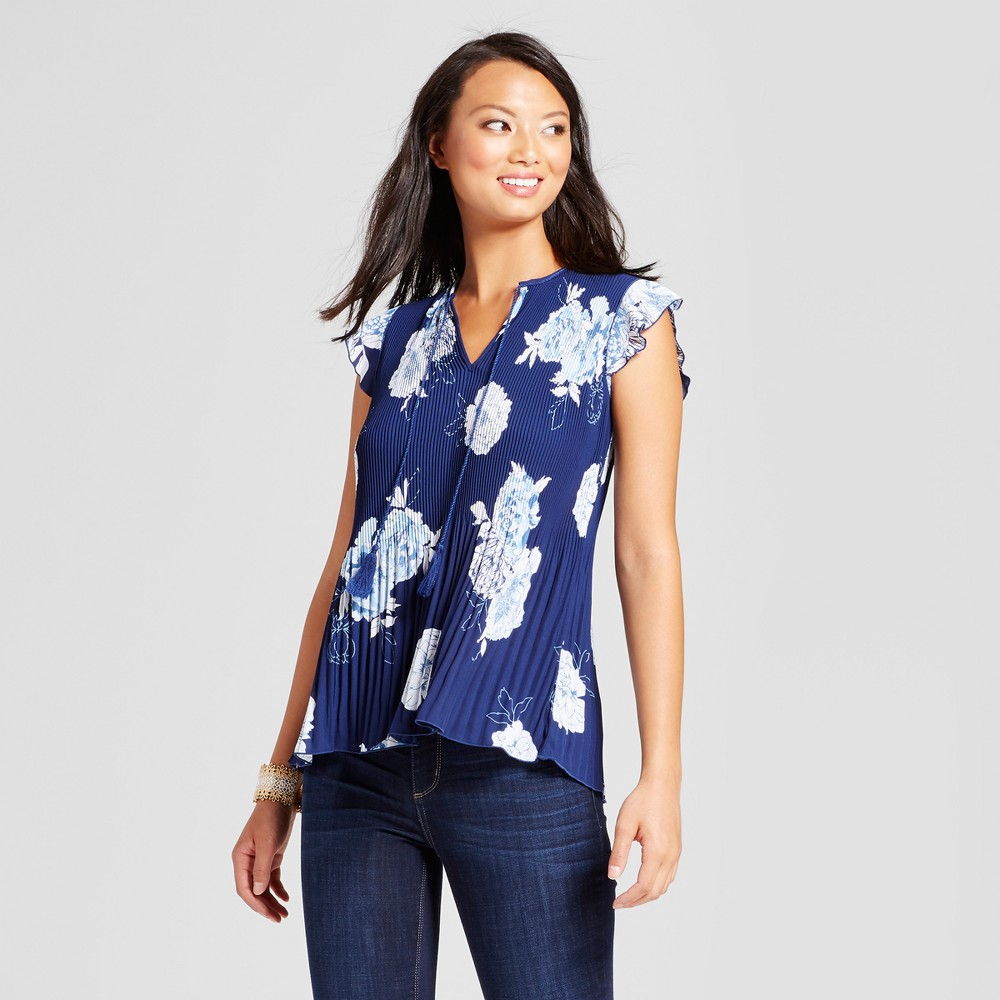 Womens Floral Printed Pleated Blouse - Zac & Rachel Navy Combo XL, Blue