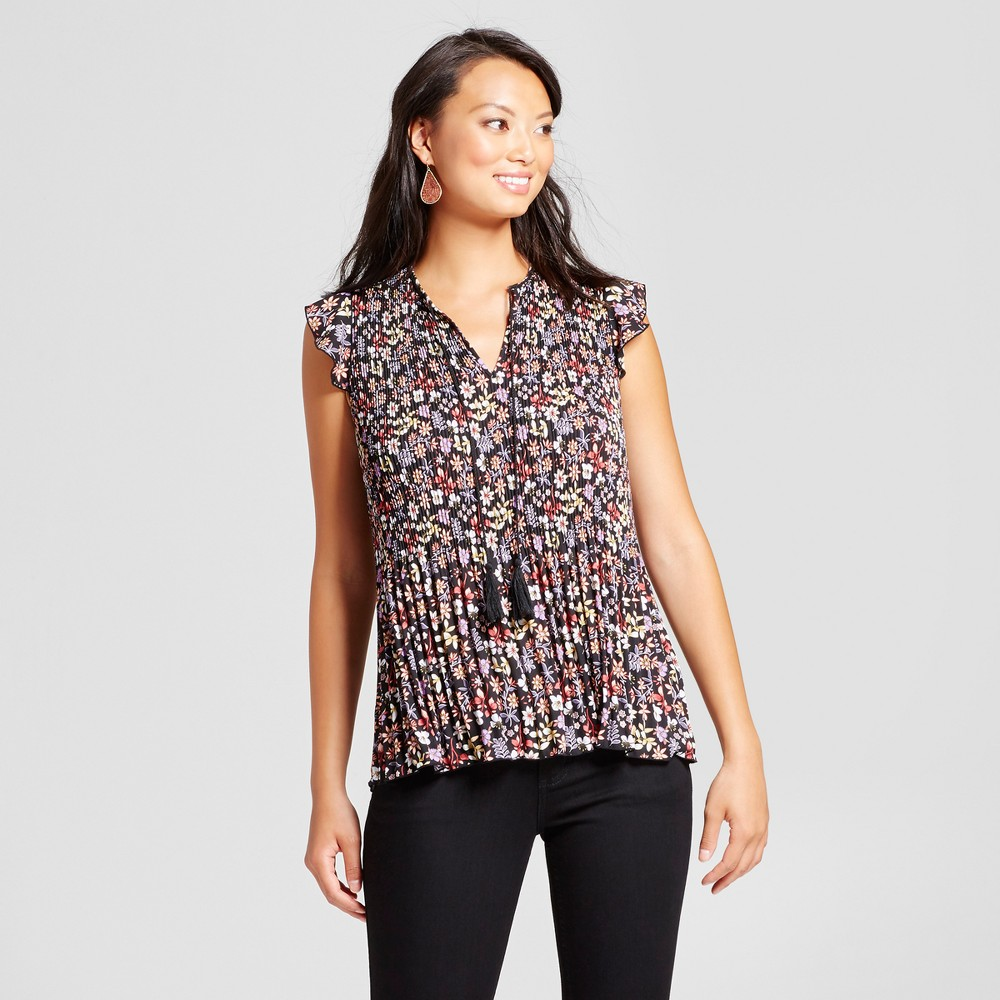 Womens Ditsy Floral Printed Pleated Blouse - Zac & Rachel Black Combo XL