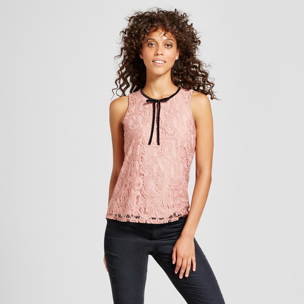 Womens Lace Velvet Bow Tie Sleeveless Top - 3Hearts (Juniors) Rose M, Pink