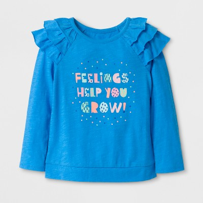 Toddler Girls' Ruffle Long Sleeve T-Shirt - Cat & Jack™ Blue 18M