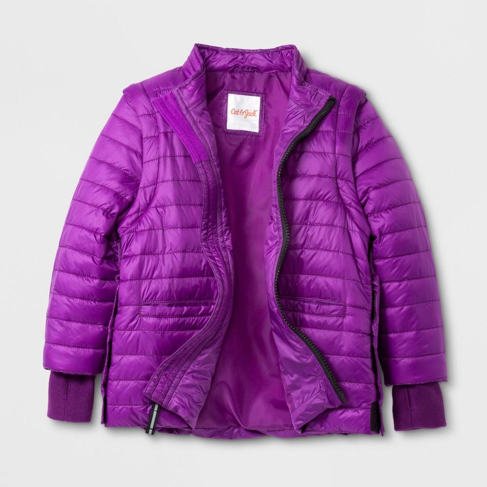 Toddler Girls Sensory Friendly Long Sleeve Puffer Jacket - Cat & Jack Plum 3T, Purple
