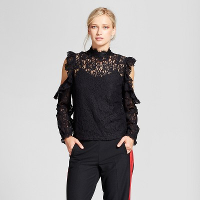 view Women's Lace Cold Shoulder Blouse - Who What Wear Black on target.com. Opens in a new tab.