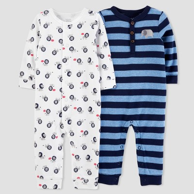 Baby Boys' 2pk Stripe/Lion Jumpsuit Set - Just One You® made by carter's Navy/White Newborn