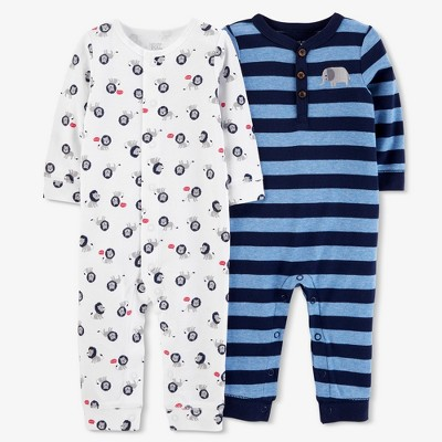 Baby Boys' 2pk Stripe/Lion Jumpsuit Set - Just One You® made by carter's Navy/White 3M