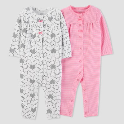 Baby Girls' 2pk Heart/Stripe Jumpsuit Set - Just One You® made by carter's Pink/White 6M