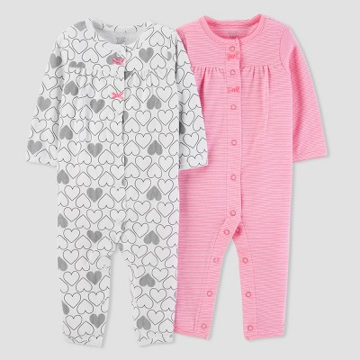 Baby Girls' 2pk Heart/Stripe Jumpsuit Set - Just One You® made by carter's Pink/White NB