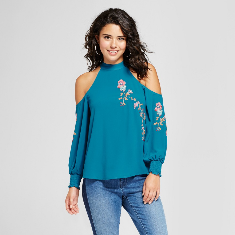 Womens Embroidered Cold Shoulder Top - 3Hearts (Juniors) Teal L, Blue