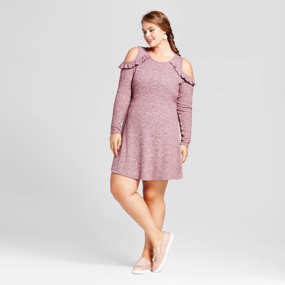 Womens Plus Size Long Sleeve Cold Shoulder Skater A-Line Dress - No Comment Pink 3X