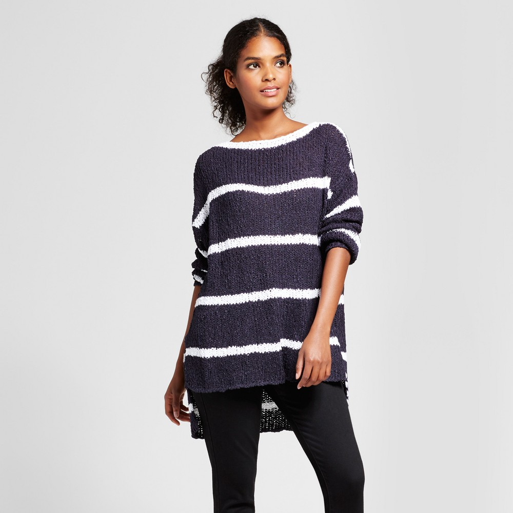 Womens Hi-Lo Striped Pullover Sweater - K by Kersh Navy/White XL, Blue