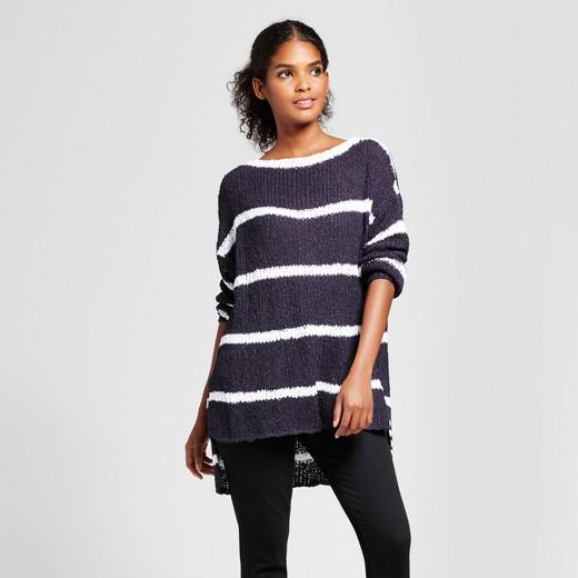 Women's Hi-Lo Striped Pullover Sweater - K by Kersh® Navy/White ...