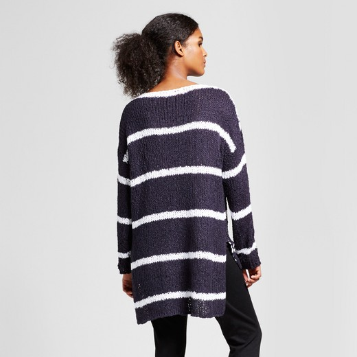 Women's Hi-Lo Striped Pullover Sweater - K by Kersh® Navy/White ...