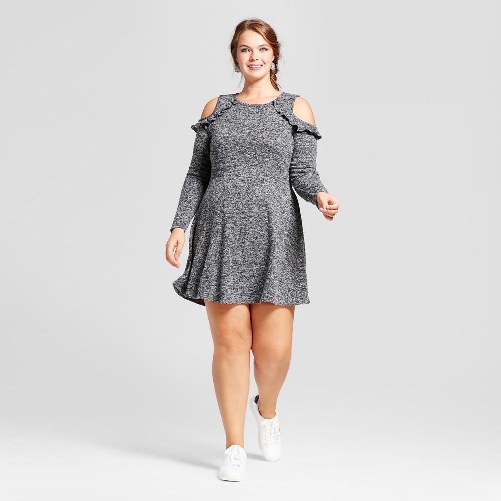 Womens Plus Size Long Sleeve Cold Shoulder Skater A-Line Dress - No Comment Gray 2X, Black