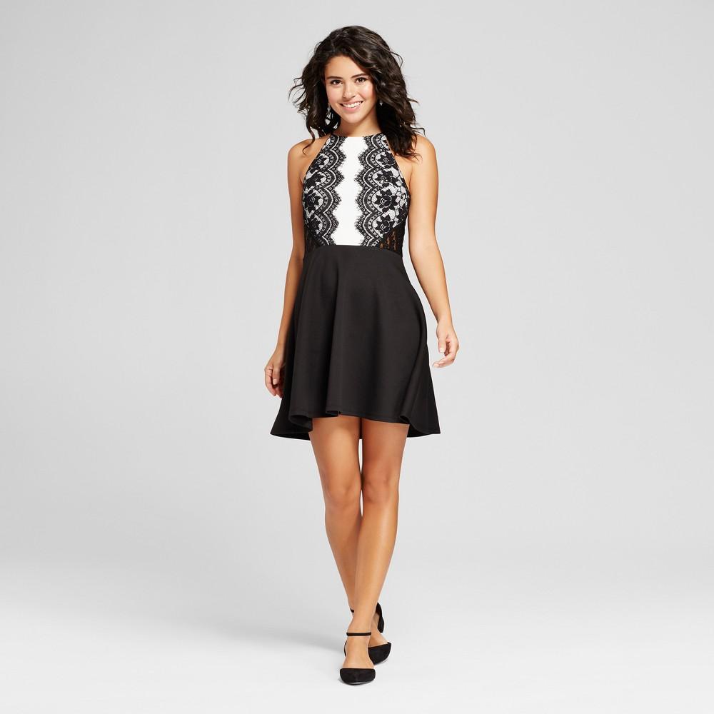 Womens Lace Scuba Skater Dress - 3Hearts (Juniors) Black/White L