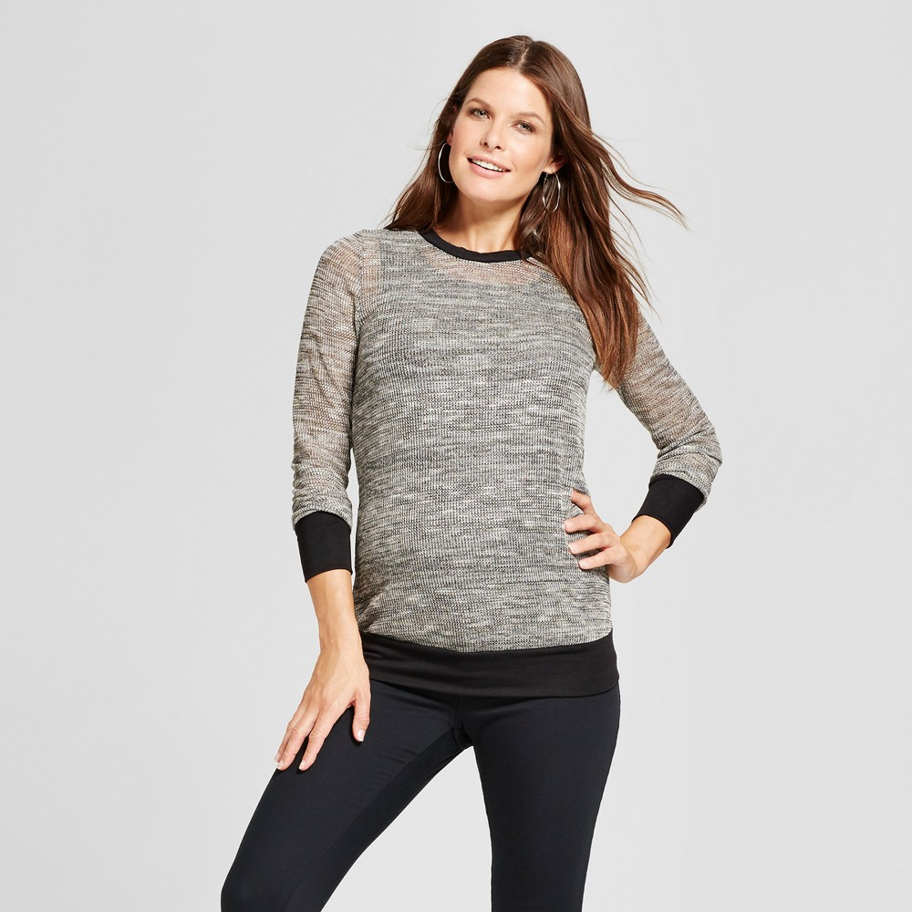 Maternity Long Sleeve Shimmer Sweater - MaCherie Heather Gray L