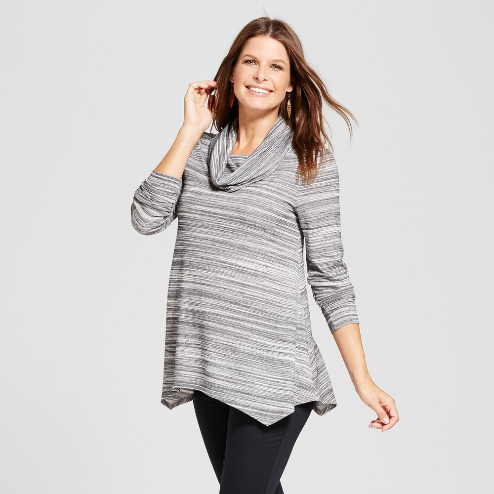 Maternity Long Sleeve Handkerchief Cowl Neck Spacedye Top - MaCherie Black XL, Womens