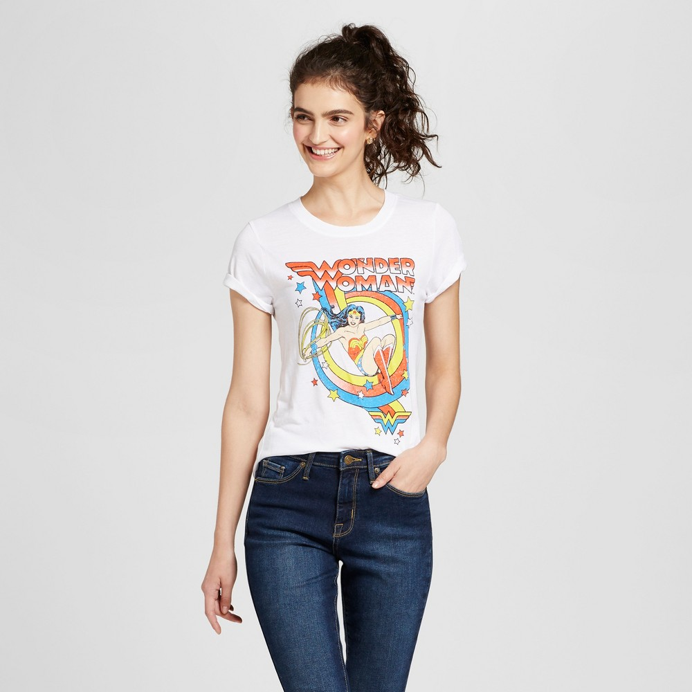 Womens Wonder Woman Graphic T-Shirt White S (Juniors)