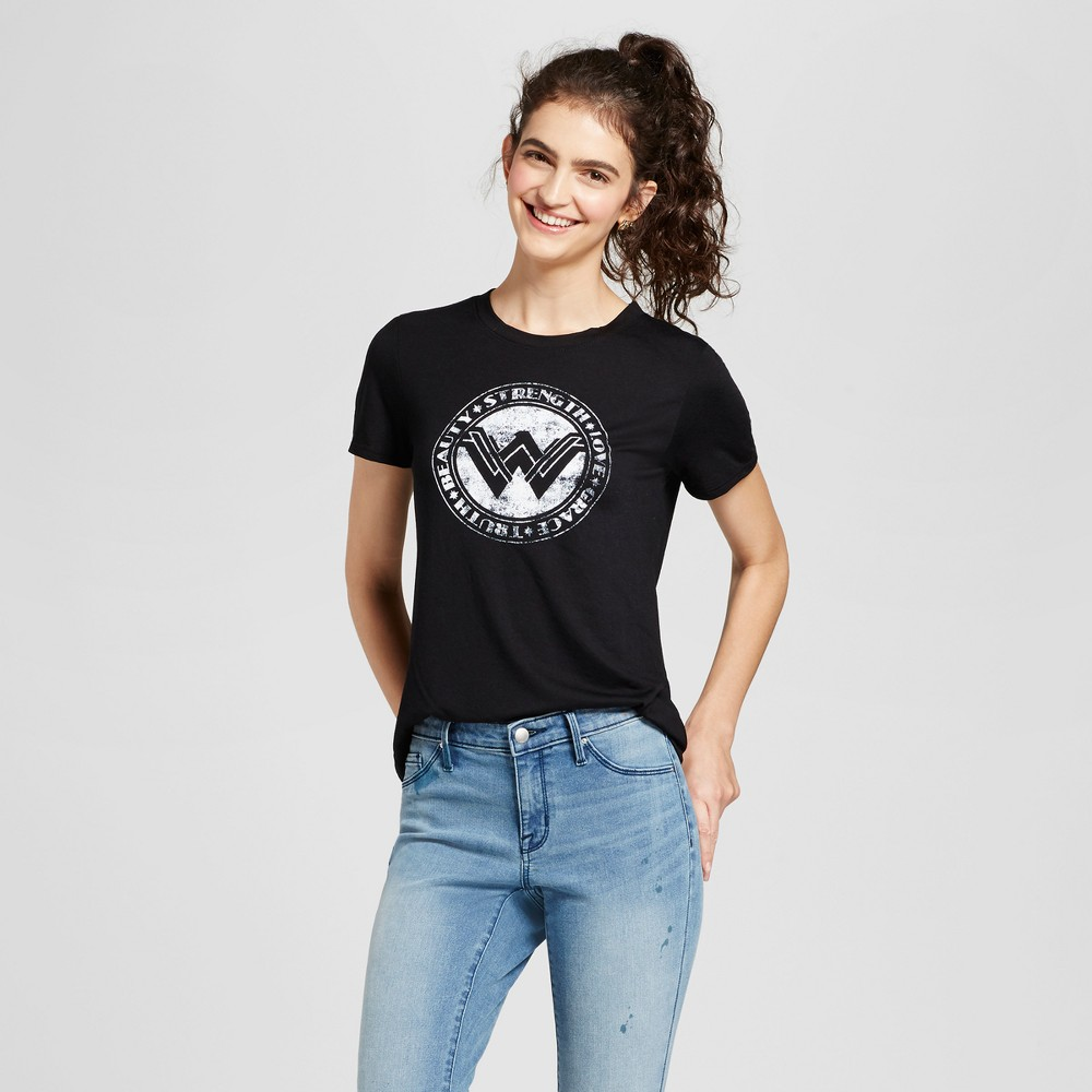 Womens Wonder Woman Logo Graphic T-Shirt Black XL (Juniors)