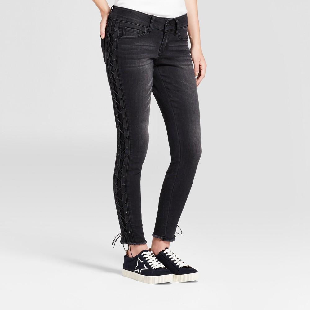 Womens Lace up Side Frayed Hem Skinny Jeans - Dollhouse (Juniors) Black 13