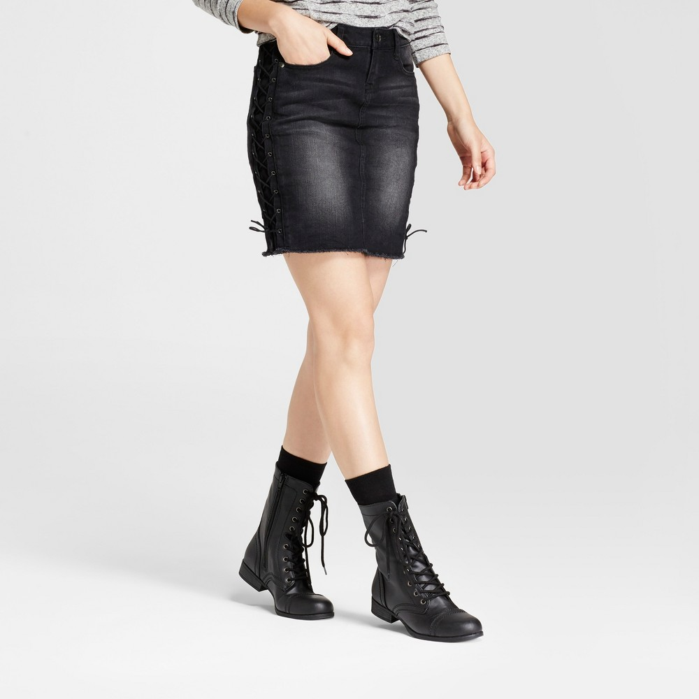 Womens Lace Up Side Denim Skirt - Dollhouse (Juniors) Black 3