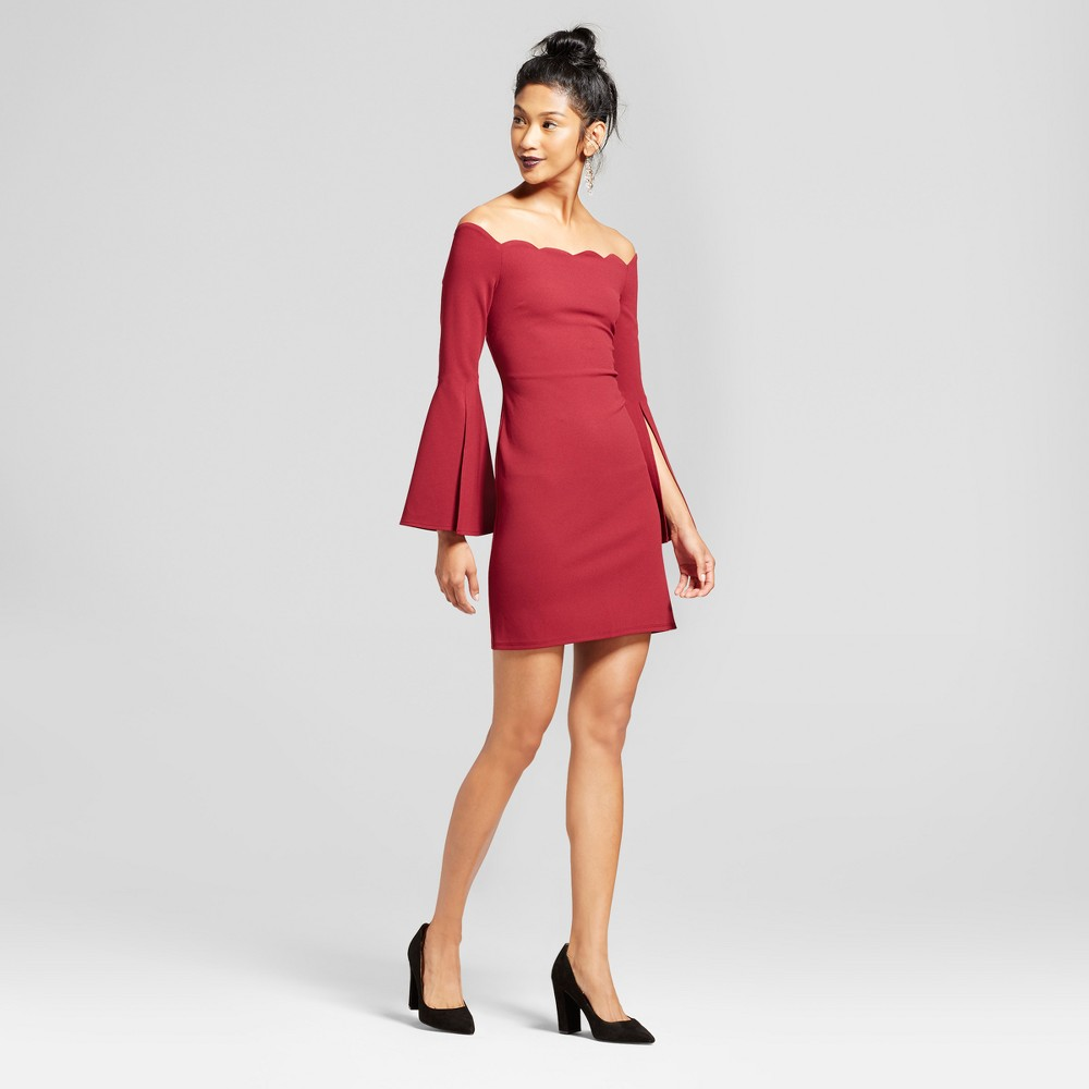 Womens Scallop Off the Shoulder Bell Sleeve Dress - 3Hearts (Juniors) Red XL