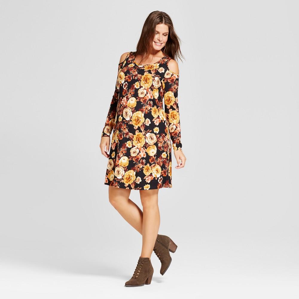 Maternity Long Sleeve Cold Shoulder Floral Dress - MaCherie Black L, Womens