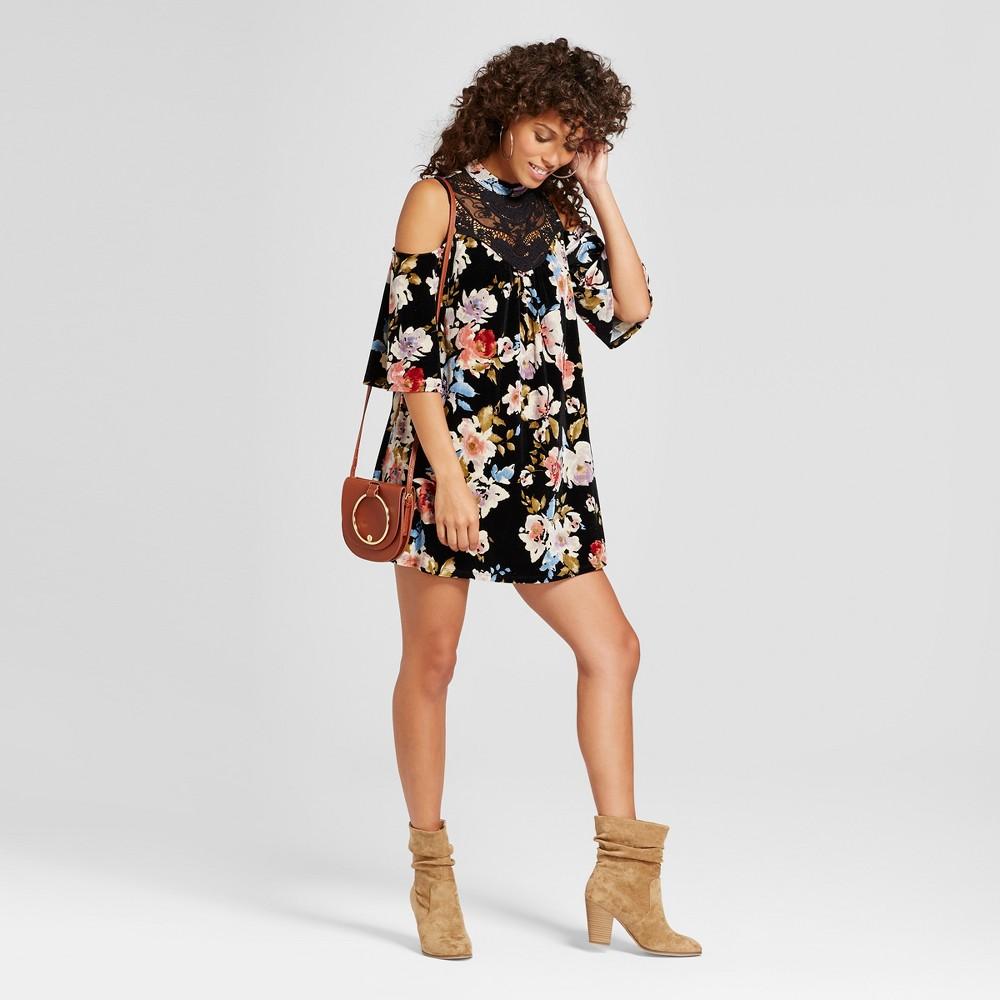 Womens Floral Velvet Crochet Cold Shoulder Dress - 3Hearts (Juniors) Black S