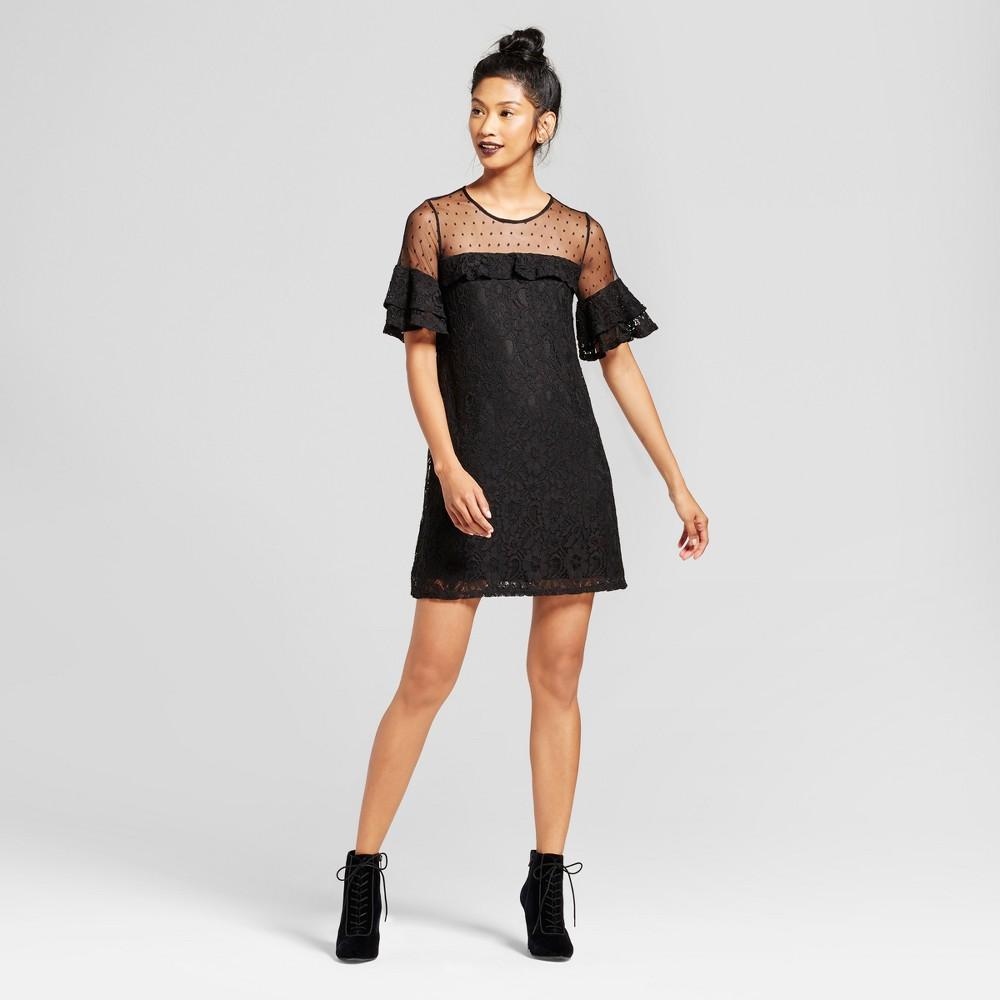Womens Lace Illusion Dot Dress - 3Hearts (Juniors) Black L