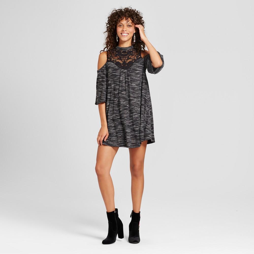 Womens Spacedye Crochet Cold Shoulder Dress - 3Hearts (Juniors) Black M