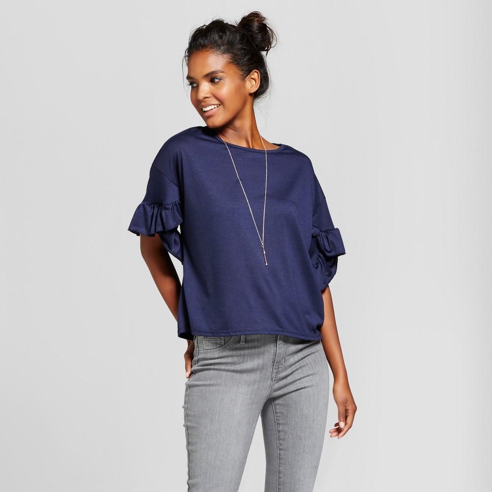 Womens Ruffle Bell Sleeve Top - Grayson Threads (Juniors) Navy L, Blue