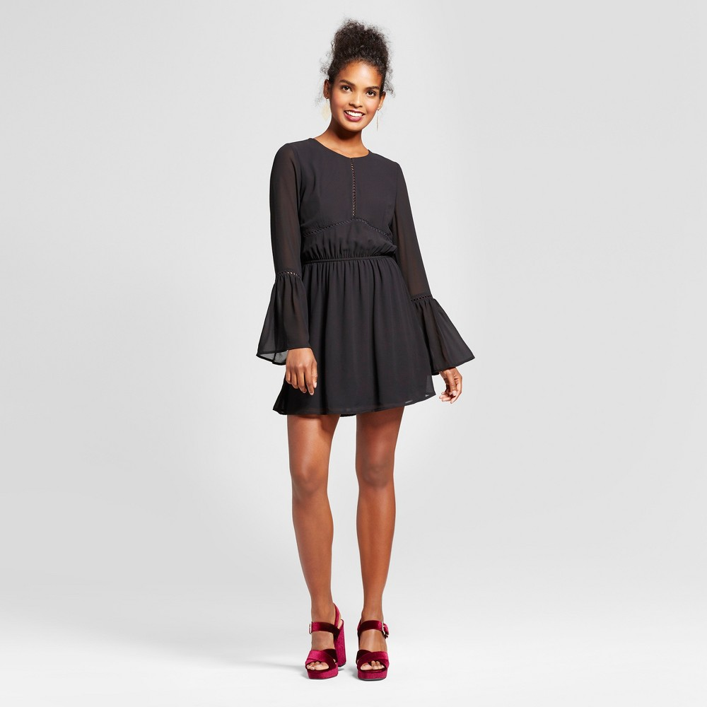 Womens Bell Sleeve Fit and Flare Dress - Lots of Love by Speechless (Juniors) Black S