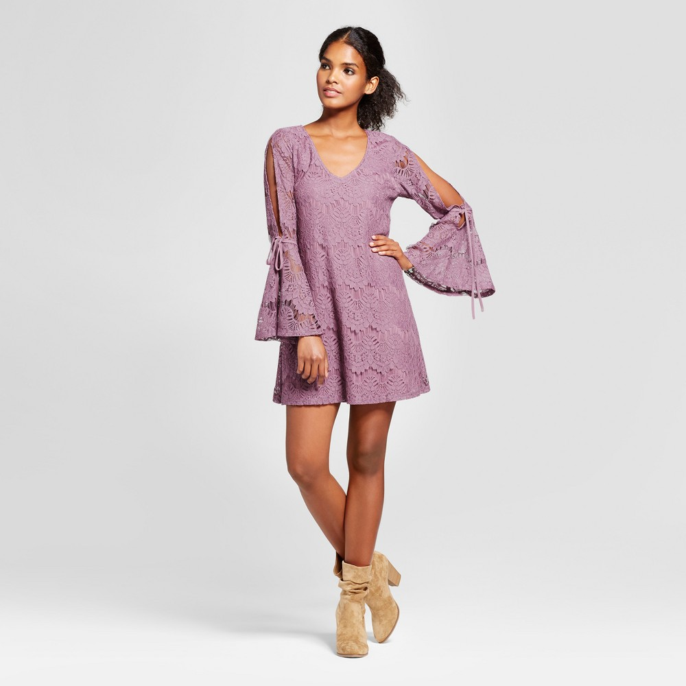 Womens Lace Tie Bell Sleeve Dress - Lots of Love by Speechless (Juniors) Mauve L, Purple