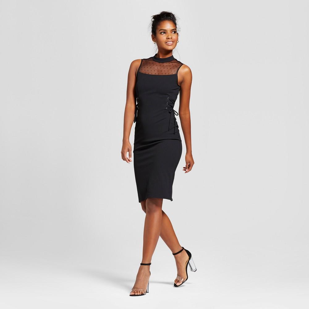 Womens Illusion Dot Corset Midi Dress - 3Hearts (Juniors) Black XL