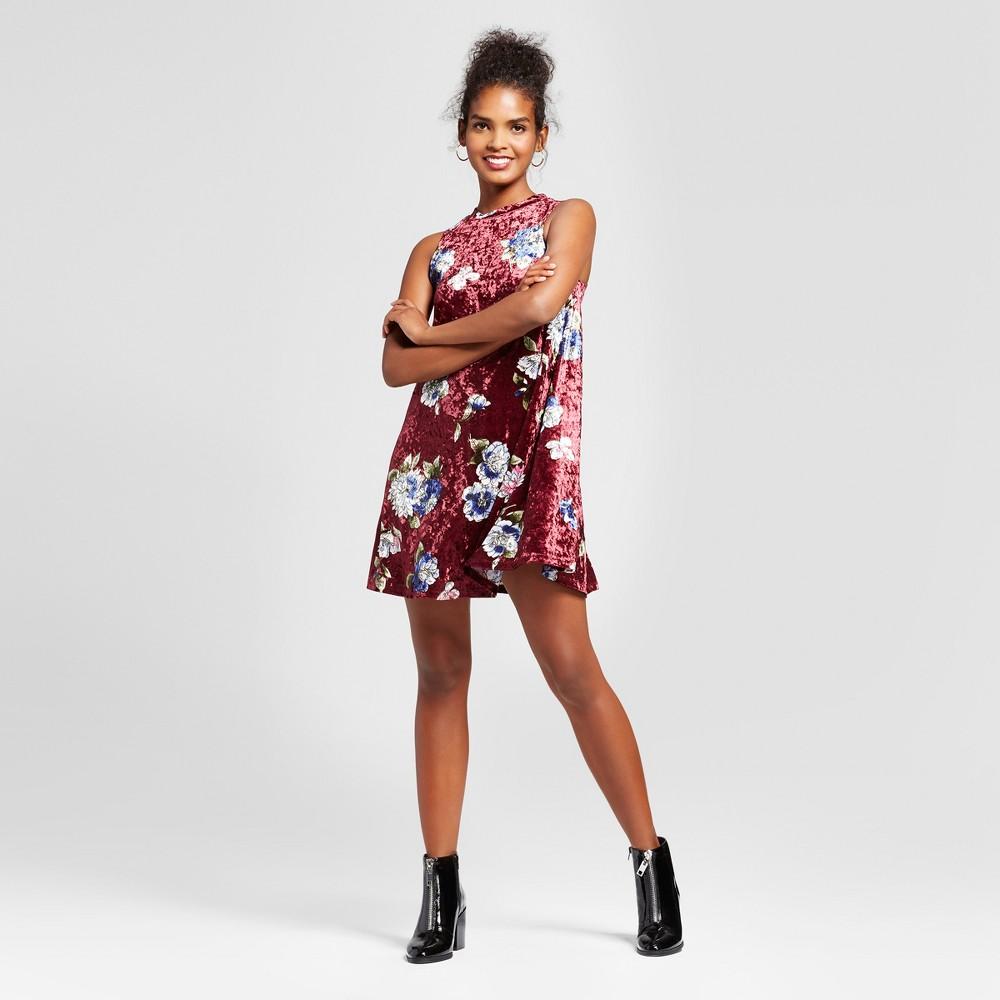 Womens Printed Velvet Cold Shoulder Mock Neck Dress - 3Hearts (Juniors) Burgundy S, Red