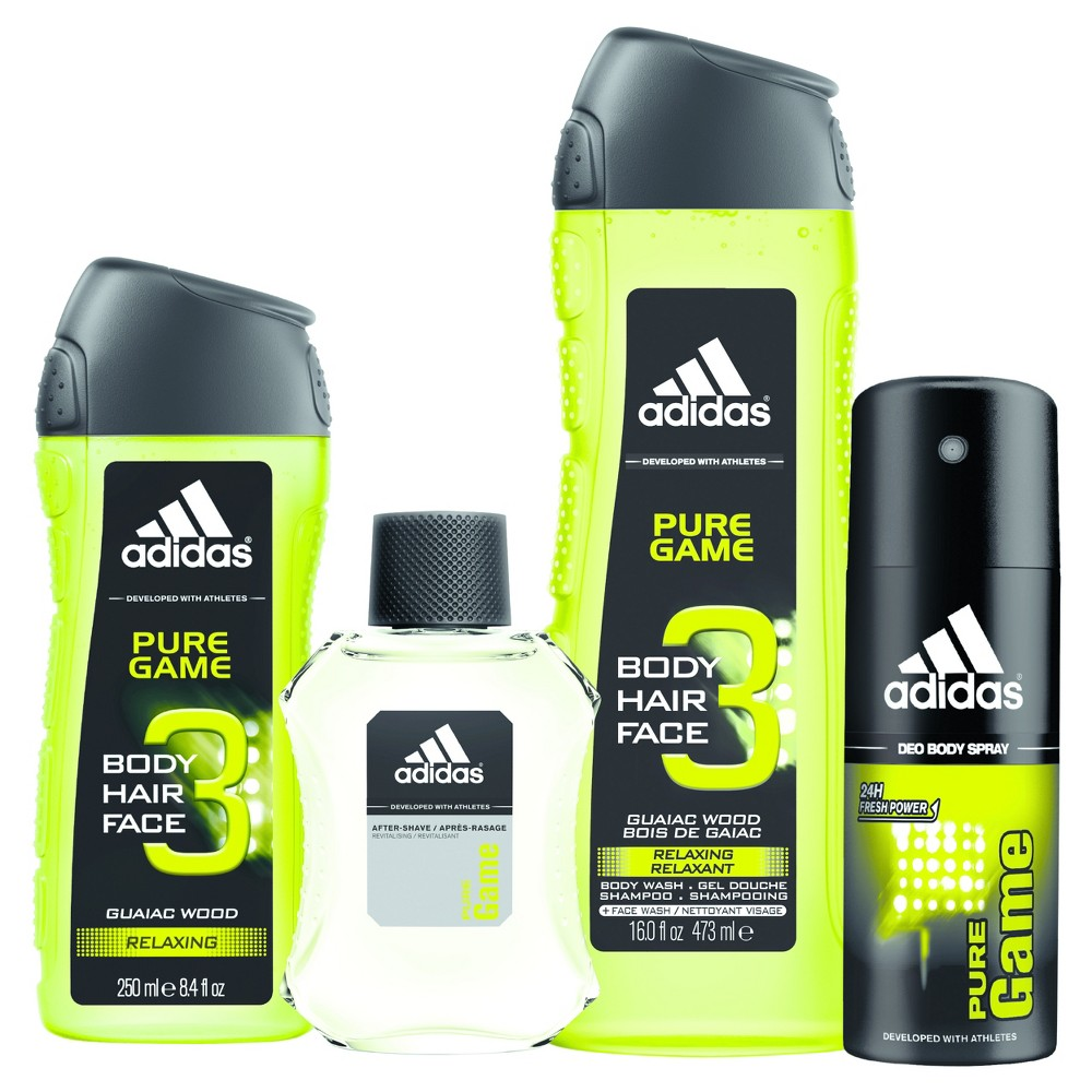 Adidas Pure Game by Adidas Men's Fragrance Gift Set - 4pc Find Fragrances at Target.com! For a man who lives his active life to the fullest with confidence, on and off the field. Pure Game is a green woody fragrance. Gender: Male.