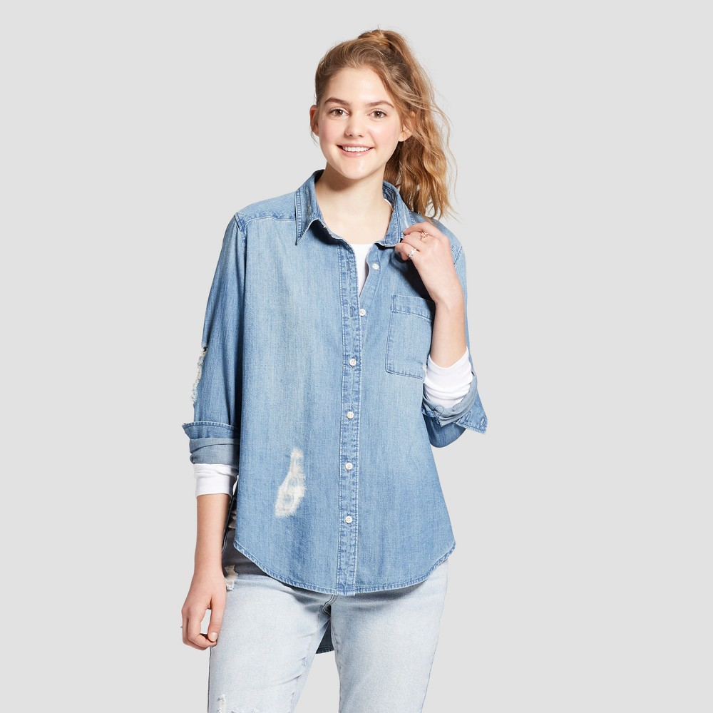 Image of Women's Long Sleeve Long Button Down Denim Shirt - Mossimo Supply Co. Blue M