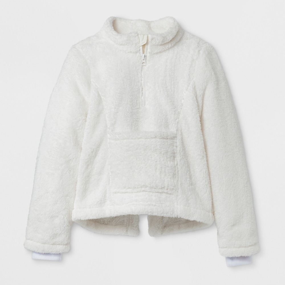 Girls Adaptive Fleece Jacket - Cat & Jack Cream S, White
