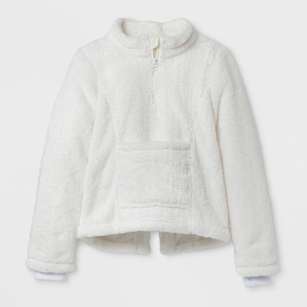 Girls Sensory Friendly Fleece Jacket - Cat & Jack Cream XL, White