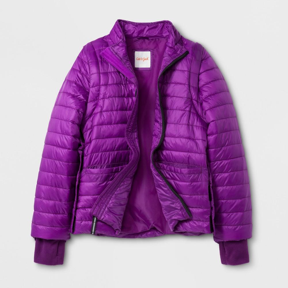 Girls Adaptive Puffer Jacket - Cat & Jack Purple S