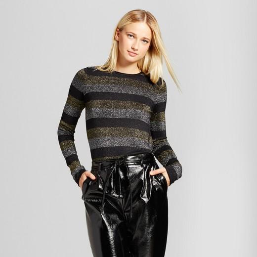 Women's Long Sleeve Metallic Stripe Crew Sweater - Who What Wear ...