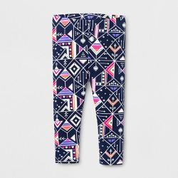 Toddler Girls' Geometric Printed Leggings - Cat & Jack™ Navy Blue